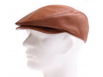 Pánská kožená čepice s kšiltem - bekovka BE18 koňakově hnědá hladká teletina