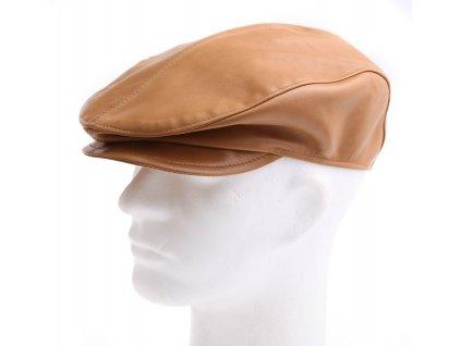 Pánská kožená čepice s kšiltem - bekovka BE19 koňakově hnědá Camel