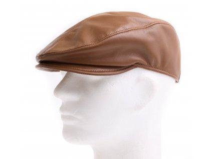 Pánská kožená čepice s kšiltem - bekovka BE20 světle hnědá
