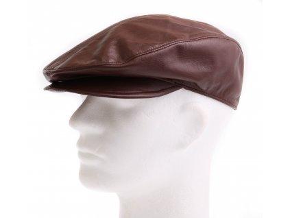 Pánská kožená čepice s kšiltem - bekovka BE21 kaštanově hnědá