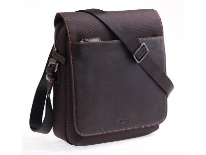 Pánská taška přes rameno Hexagona 296179 hnědá kůže + nylon