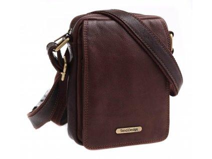 Pánská kožená crossbody taška Sendi Design CT52006 hnědá + logo mosaz