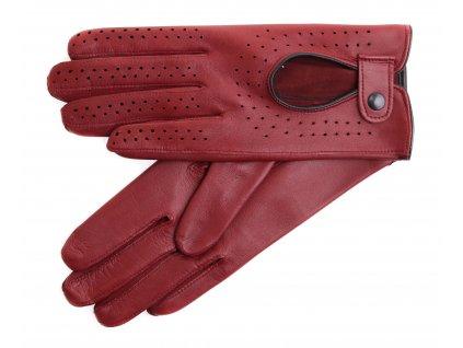 Dámské kožené řidičské rukavice 3034 vínově červené perforované