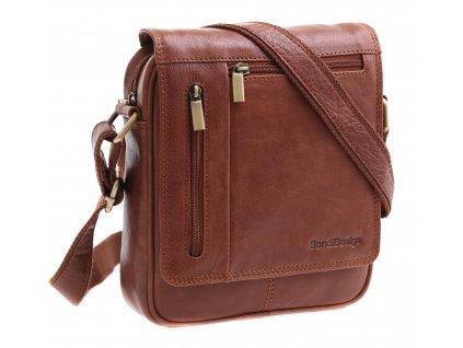 Pánská kožená taška přes rameno Sendi Design M 702 koňakově hnědá
