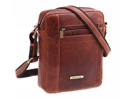 Pánská kožená taška přes rameno Sendi SD 1107 koňakově hnědá