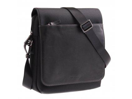 Pánská crossbody taška přes rameno Hexagona 296179 černá kůže a nylon