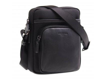 Pánská kožená taška přes rameno Hexagona 299168 černá s nylonovými doplňky