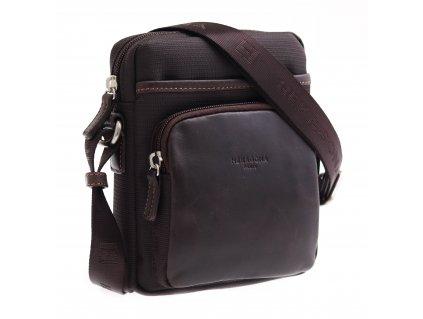 Pánská kožená taška přes rameno Hexagona 299168 hnědá s nylonovými doplňky