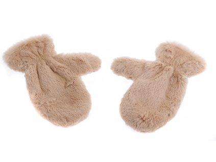 Kožešinové masážní rukavice z králičí kožešiny MAR46 pár tmavě hnědé