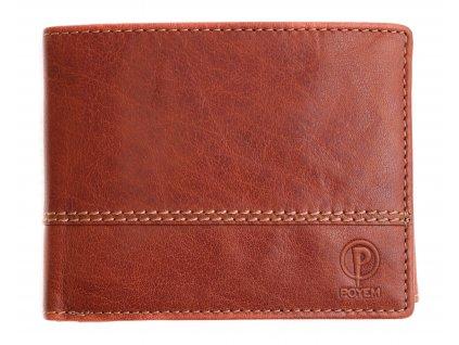 Pánská kožená peněženka Poyem 5221 koňakově hnědá