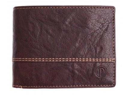 Pánská kožená peněženka Poyem 5221 tmavě hnědá