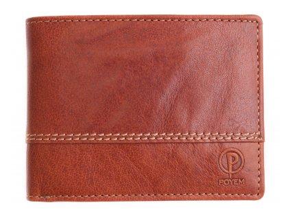 Pánská kožená peněženka Poyem 5222 koňakově hnědá