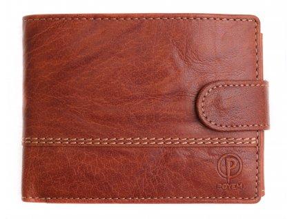 Pánská kožená peněženka Poyem 5223 koňakově hnědá