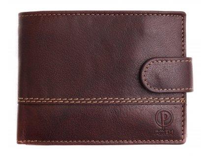 Pánská kožená peněženka Poyem 5223 tmavě hnědá