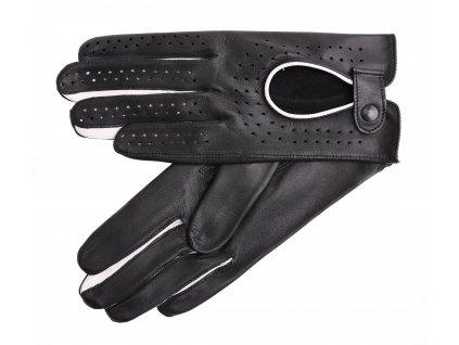 Dámské kožené řidičské rukavice 3034 prstové černé s bílými detaily