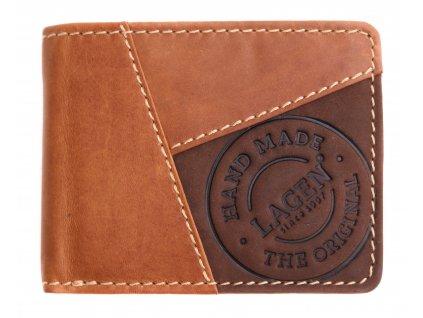 Pánská kožená peněženka Lagen 51148 koňakově hnědá