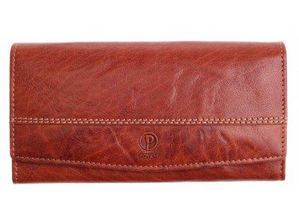 Dámská kožená peněženka Poyem 5224 koňakově hnědá