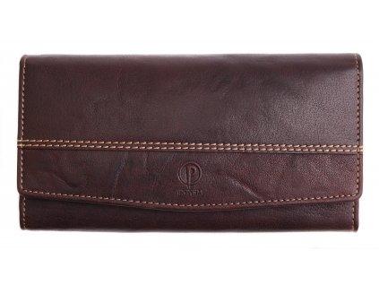 Dámská kožená peněženka Poyem 5224 tmavě hnědá