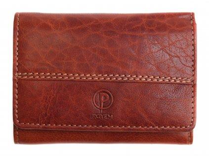 Dámská kožená peněženka Poyem 5225 koňakově hnědá