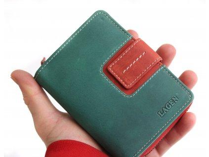 Dámská  kožená peněženka Lagen 3307 zelenočervená
