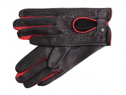 Dámské kožené řidičské rukavice 3034 černé s červenou šichtlí