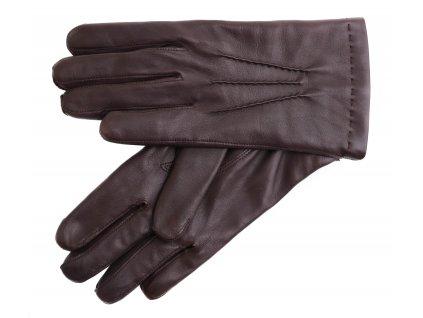 Pánské kožené rukavice  2019 tmavě hnědé s kašmírovou podšívkou