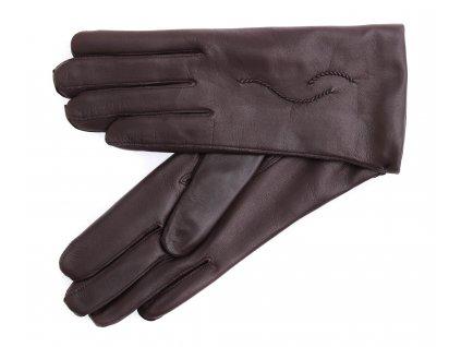 Dámské kožené rukavice 4230 tmavě hnědé - podšívka kašmír