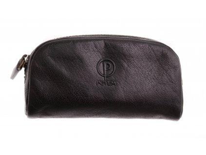 Černá kožená klíčenka Poyem 5218 černá