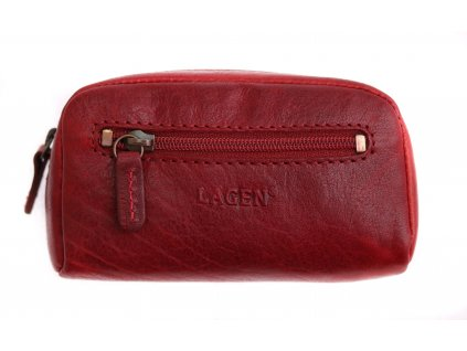 Kožená klíčenka Lagen 6582 červená