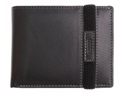 Pánská kožená peněženka Lagen 61178 černá s přepnutím gumičkou