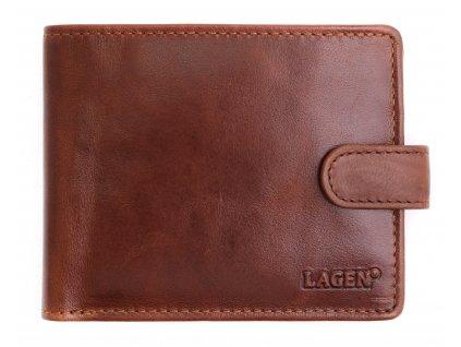 Pánská kožená peněženka Lagen E 1036/T koňakově hnědá