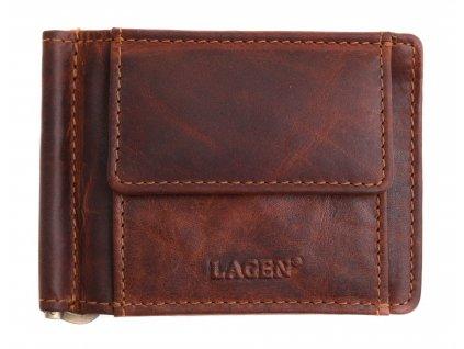 Pánská kožená dolarka Lagen 6596 tmavě hnědá