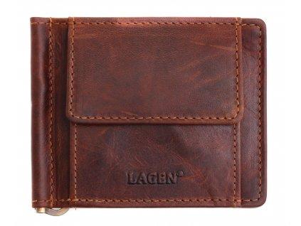 Pánská kožená dolarka Lagen 5173 tmavě hnědá