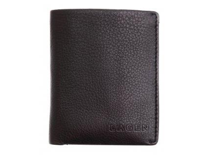 Pánská kožená peněženka Lagen 50620 černá s modrým vnitřkem