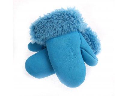 Dětské kožešinové palčáky DPA2 napalan modré kožešiny vel. 2-3 let