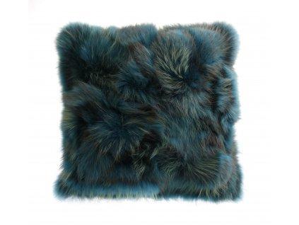 Kožešinový polštář z finského mývalovce - tyrkys