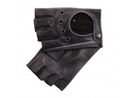 Pánské kožené řidičské rukavice 1448BP bezprsté černé s grafitovými detaily