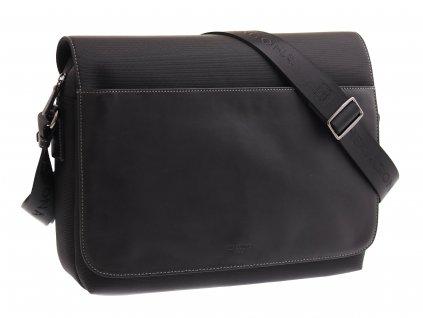 Pánská messenger taška přes rameno Hexagona 296181 černá kůže a nylon