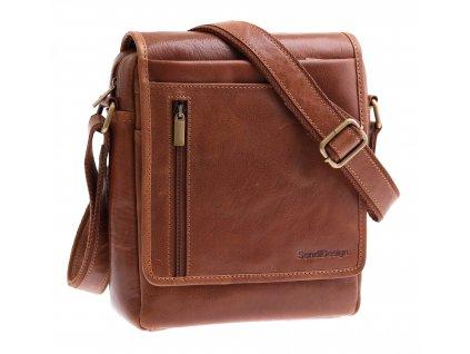 Pánská kožená taška přes rameno Sendi Design M 721 koňakově hnědá