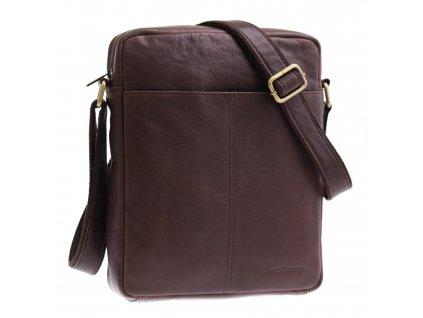 Pánská kožená taška přes rameno Sendi Design M 701 tmavě hnědá