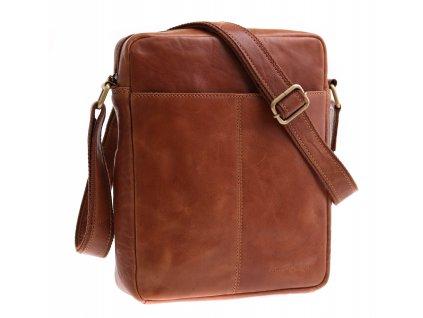 Pánská kožená taška přes rameno Sendi Design M 701 koňakově hnědá