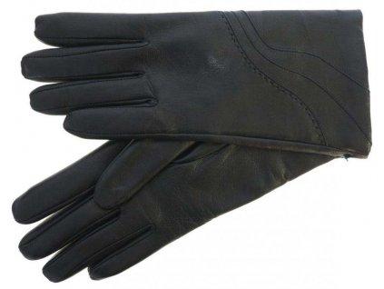 jednoduché černé kožené rukavice