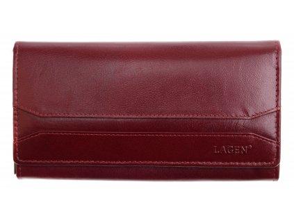 Červená kožená peněženka Lagen W 2025 B Cherry Red