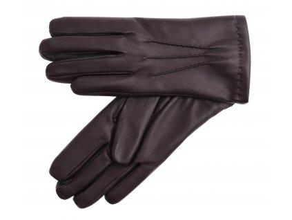 Pánské kožené rukavice zateplené králičí kožešinou 2019 tmavě hnědé