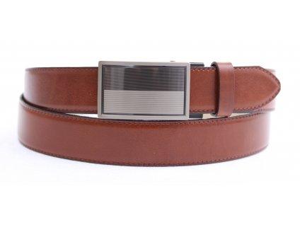 Pánský kožený opasek Penny Belts 3586 s plnou sponou AUTOMAT hnědý