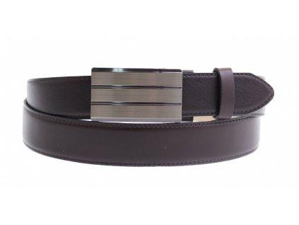 Pánský kožený opasek Penny Belts 3587 s plnou sponou AUTOMAT tmavě hnědý