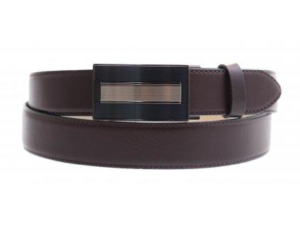 Pánský kožený opasek Penny Belts 3588 s plnou sponou AUTOMAT tmavě hnědý