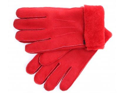 Kožešinové rukavice prstové PR94 červené velur vel. M/L