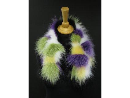 Kožešina lem / límec na kapuci z finského mývalovce MP15 MULTICOLOR PATCHWORK 60 cm