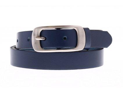 Dámský úzký kožený opasek Penny Belts 25-173-56 modrý